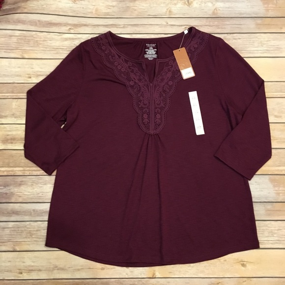 Sonoma Tops - Sonoma Three Quarter Sleeve Blouse with Lace, S XL